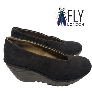 Fly London Brown Yas Suede Leather Wedges